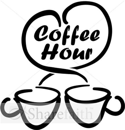 ms to hour coffee hour with loving coffee cups refreshments word
