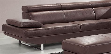 full grain leather sectional brown top grain full leather modern sectional sofa w metal