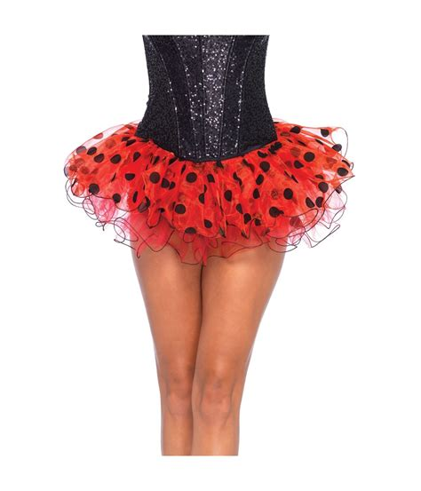 womens tutu skirt black polka dot ladybug clown