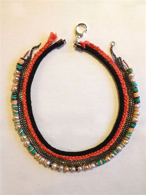 Can I Mix Sequins With Smoky Jewelry by Diy Lizzie Fortunato Inspired Mixed Media Collar Necklace