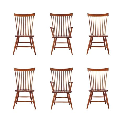 Century Furniture Dining Chairs Set Of Six Mid Century Modern Spindle Back Dining Chairs In Cherry At 1stdibs