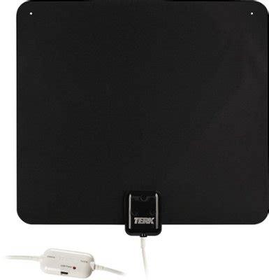 terk ultrathin indoor amplified hdtv antenna blackwhite