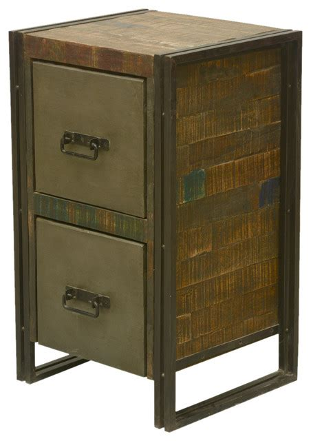 industrial fusion reclaimed wood iron file cabinet