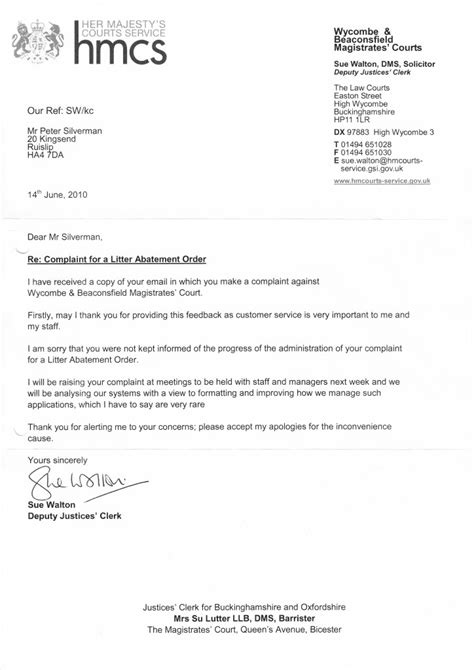 M40 Court Letter 14th June 2010 Clean Highways Court Reference Letter Template