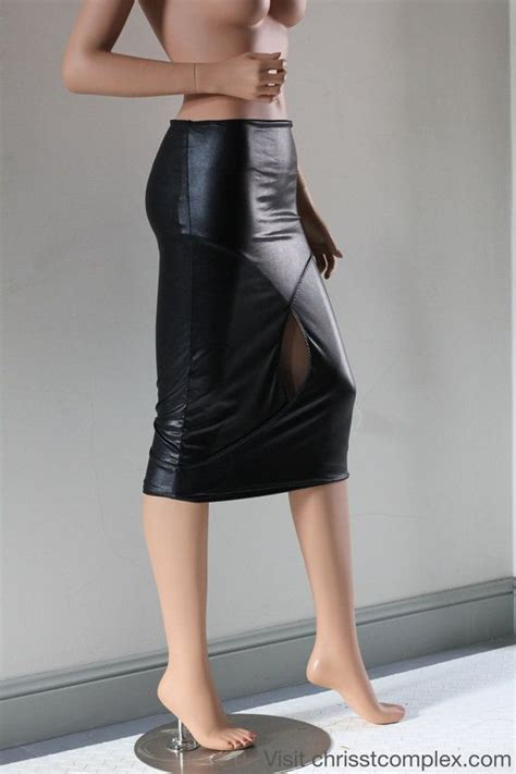 pencil skirt pvc black chrisst black pvc in