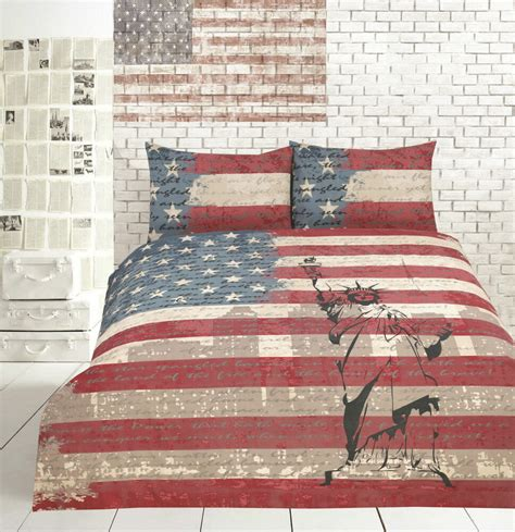 Bed Cover Set America Uk 120x200 retro usa vintage flag new york quilt doona cover set