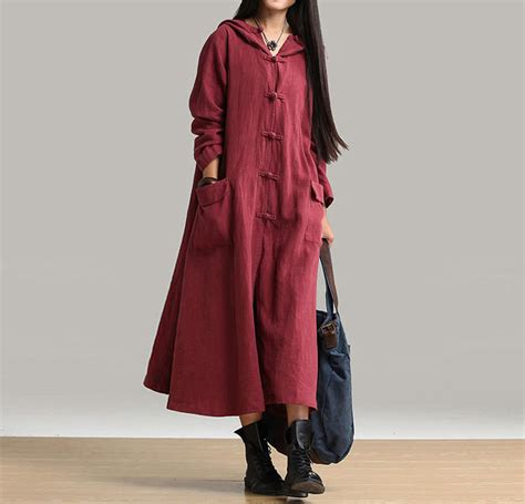 plus size vintage linen cotton clothes autumn winter