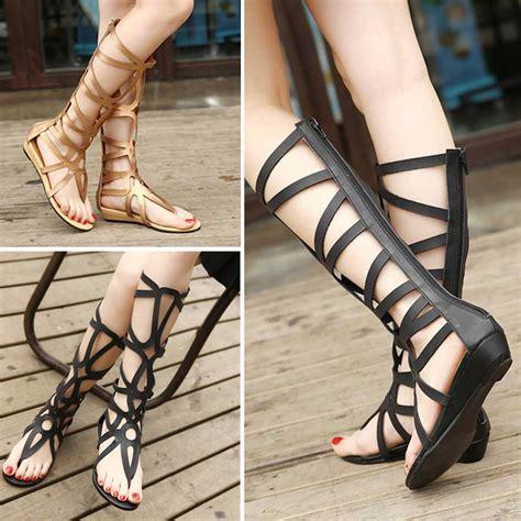 zip up sandals gladiator sandals strappy low wedge knee high zip up