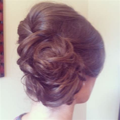 Wedding Hair Pinned To Side by Low Side Bun With Curls Pinned Up Wedding Hair