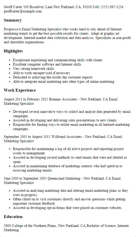 Marketing Specialist Resume by Email Marketing Specialist Resume Template Best Design