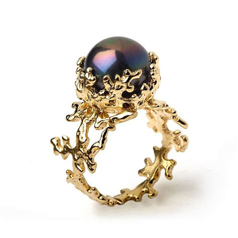 coral black pearl ring black pearl engagement ring 14k by