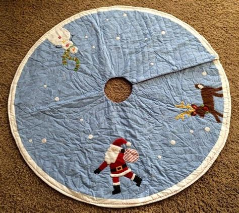 pottery barn kids christmas tree skirt blue new santa