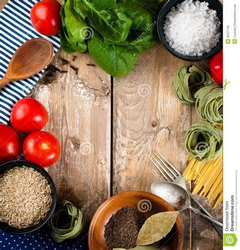 Cooking Board | food background on wooden board royalty free stock photo