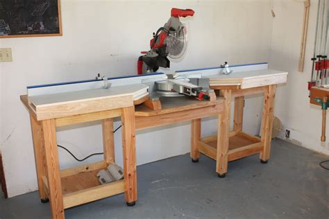 how to make a saw bench miter saw table by rkober lumberjocks com
