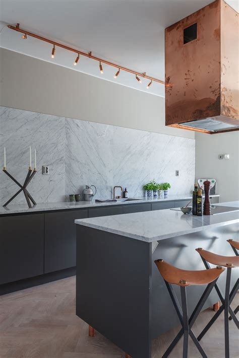 interior update rose gold in contemporary house designs muted grey marble and copper nordicdesign