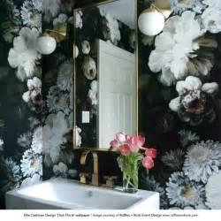 Fabric Wall Murals dark floral wallpaper by ellie cashman design