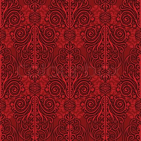 Victorian Home Design by Abstract Red Background Royal Monochrome Damask Ornament