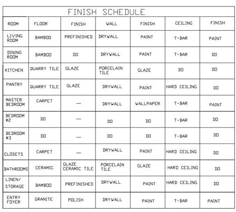 Floor Finish Schedule Images Frompo Room Finish Schedule Template