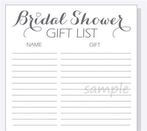 Printable Bridal Shower Gift List   diy bridal shower gift list printable calligraphy script