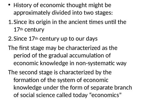 History Of Economic Thought history of economic thought structure of the course