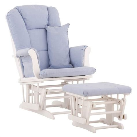 white glider and ottoman glider and ottoman in white with blue cushions 06554 531