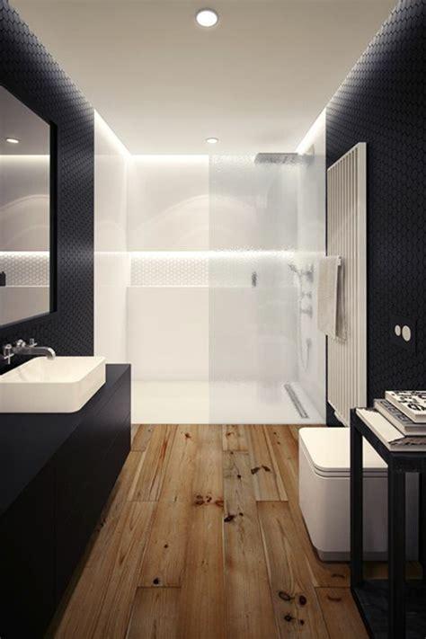 Charmant Astuces Rangement Salle De Bain #2: salle-de-bain-blanche-noire-sol-en-parquet-faire-une-douche-a-l-italienne-chic.jpg