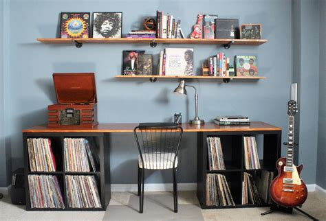 diy desktop and industrial pipe shelves