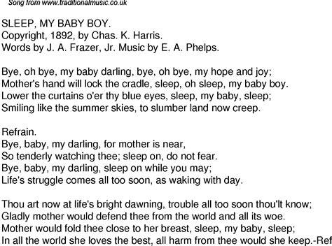 sleep pattern lyrics old time song lyrics for 41 sleep my baby boy