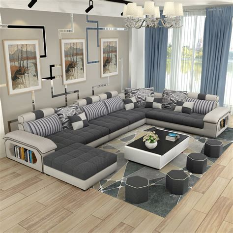 Luxury Living Room Furniture Modern U Shaped Fabric Corner Sofa Living Room Designs