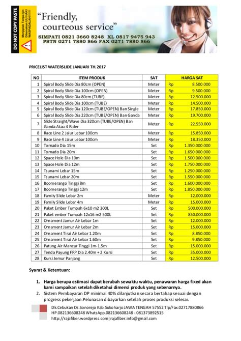 Daftar Panci Merk Jawa daftar harga waterslides 2015