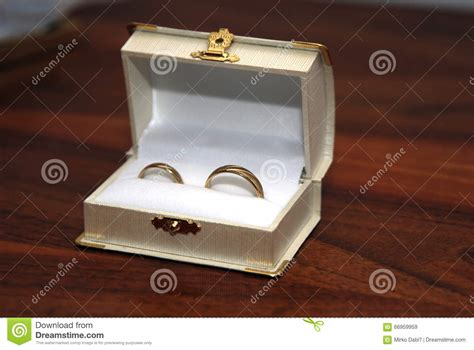 Wedding Ring Box For 2 Rings by Two Gold Wedding Rings In The White Ring Box Stock Photo