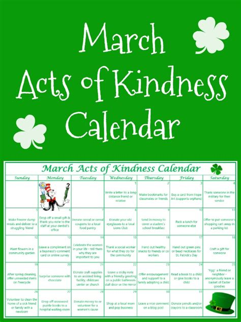printable kindness calendar free printable march acts of kindness calendar money