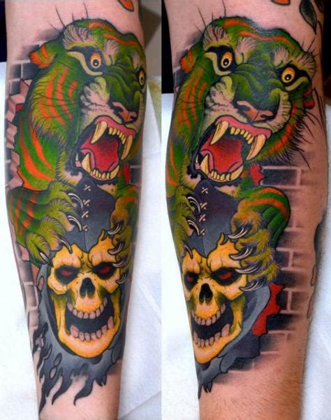 tattoo tiger new school arm new school skull tiger tattoo by peter lagergren