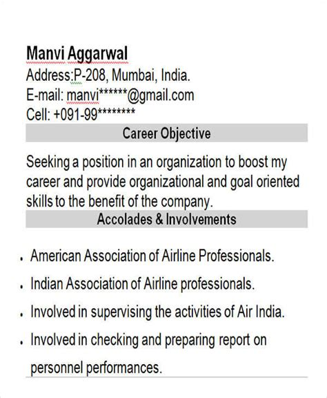 Sample Resume For Air Hostess Fresher by 43 Professional Fresher Resumes