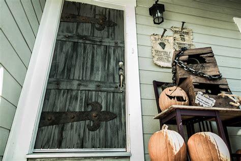diy halloween frankenstein castle front door  monster hinges home family