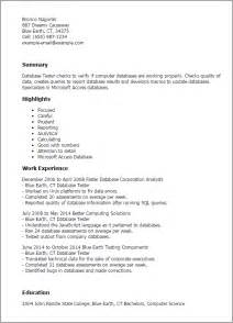 Database Tester Sle Resume professional database tester templates to showcase your talent myperfectresume