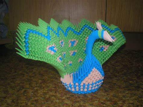 Peacock Origami - 3d origami peacock diagram www imgkid the image