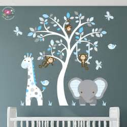jungle wall stickers blue and grey nursery decals numonday animal zoo safari tree baby kids bedroom