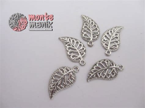 Bahan Baku Aksesoris Craft Murah Bunga Mawar Satin charm daun ukir ala 01 montemanik pusat bahan dan