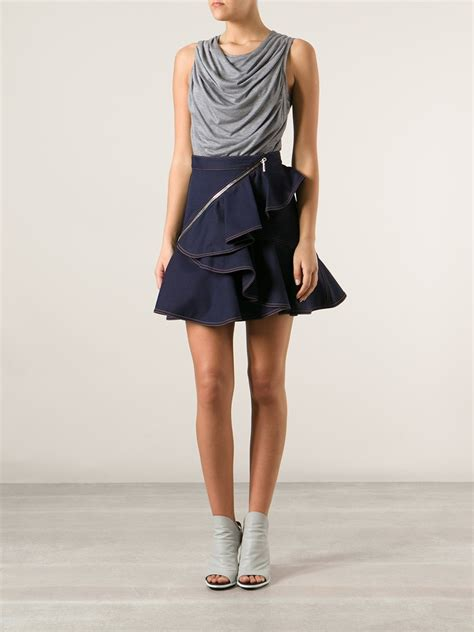 givenchy ruffled skirt in blue lyst