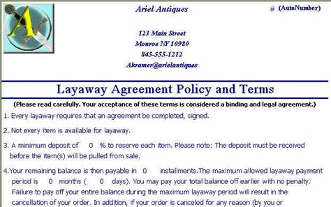 layaway agreement template sle of galeri receipt studio design gallery
