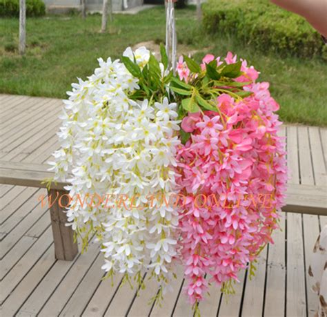Wedding Arch With Hanging Flowers by Aliexpress Buy 6pcs 8colors Artificial Silk Wisteria