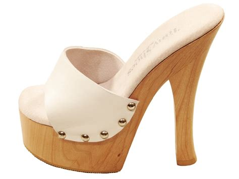 white high heel mules tony shoes white high heel wood platform slip on
