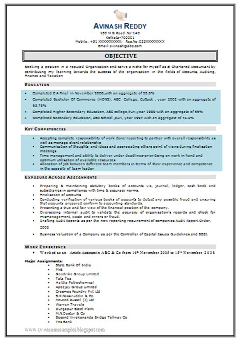 Resume Format Doc For Accountant 10000 Cv And Resume Sles With Free Chartered Accountant Resume Sle For