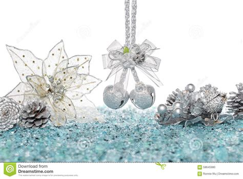 Silver Cone Bells luxury silver jingle bells flower and pine cone on snow