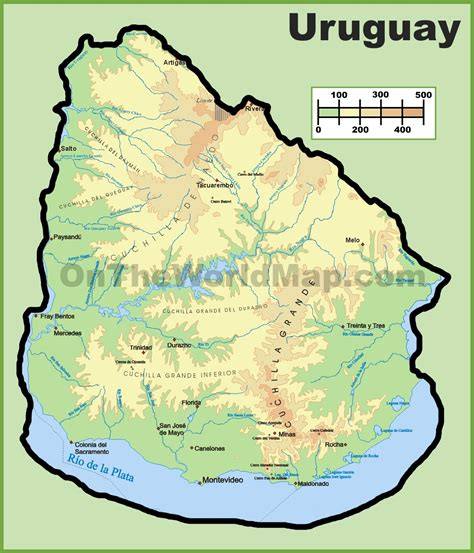 map of uruguay uruguay physical map