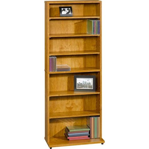 multimedia storage tower w 7 shelves 5 adjustable shelf
