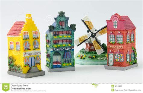 Souvenir Kaos Netherland 1 miniature canal houses and windmill stock photo image 42318231