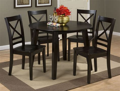 round dining room sets with leaf simplicity espresso extendable round drop leaf dining room