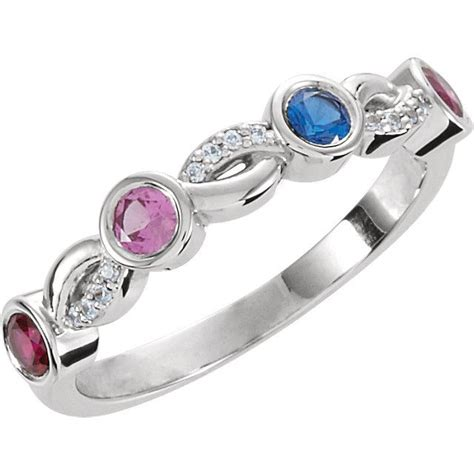 silver 4 stones stackable s ring